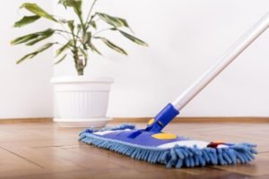 microfiber mop and a cleaner